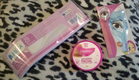 Folhas para limpeza de depilação, cera para depilação do rosto (vai ao microondas e aplicador de rímel